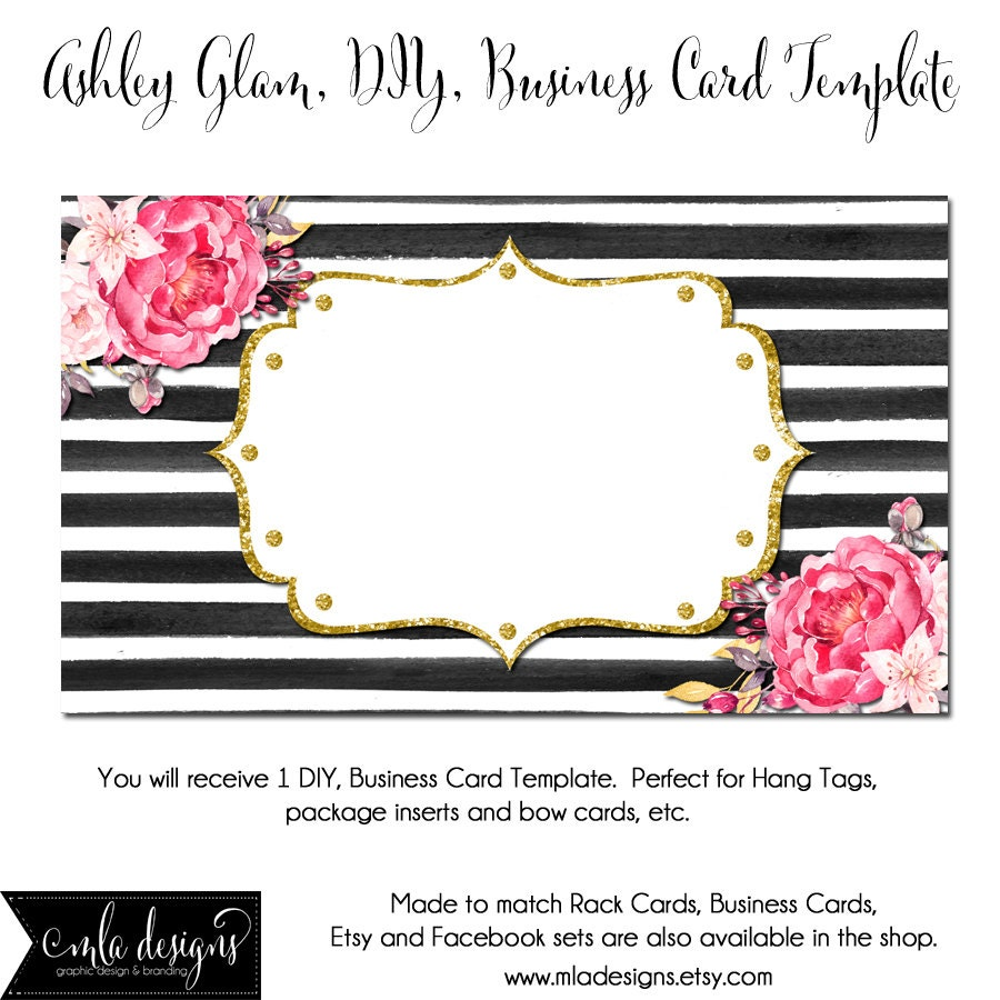 DYI Blank Business Card Template Ashley Glam Made To Match