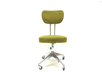 Vintage Rolling Desk Chair In Green Tweed