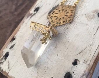 Brass Filligree Crystal Shard Necklace OOAK