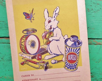 Vintage French School Exercise Book Cover 1930s 1940s Advertisement Brasso Polish White Rabbit Musician Music Interest Paper Ephemera France