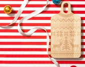 Engraved Holiday Sweater Wood Cutting Board - 7x13