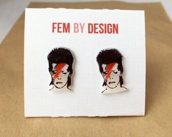 Ziggy Stardust Earrings, David Bowie Earrings, Rock N Roll Jewelry Shrink Plastic Earrings Hand-Drawn Jewelry Hand Illustrated Shrinky Dinks