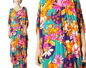 Vintage 1960s 1970s Floral Caftan Dress Pleated Floral Dress Psychedelic Neon Floral Print Maxi Dress Bright Hippie Boho Muu Muu (L/XL)