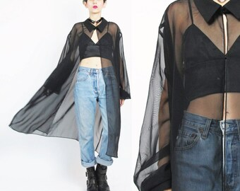 1990s Sheer Black Blouse Draped Duster Jacket Long Sheer Black Jacket See Through Shirt Plus Size Goth Cardigan Layering Cover Up (XL)