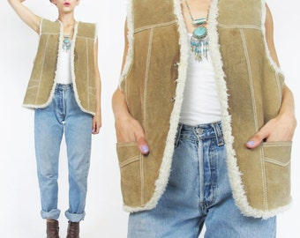 60s 70s Shearling Vest Sheepskin Tan Suede Leather Vest Unisex Mens Leather Vest Warm Winter Sleeveless Biker Motorcycle Pockets (S/M) E24