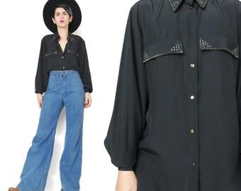 1980s Womens Black Blouse Gold Hot Fix Studded Shirt Womens Long Sleeve Button Down Shirt Collared Glam Disco Office Dress Shirt (S/M)