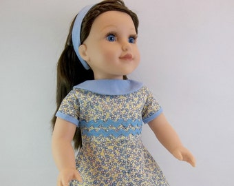 18 inch  Doll Dress Fits American Girl Doll Heritage 1930 s Style floral Dress Blue Collar  and Hair Band