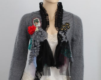 Grey Black  Shabby chic Hand Knit Crochet Shrug Bolero Sweater  Boho Gypsy Fairy Tattered Romantic Textile Collage -Wearable Art -Size M/ L