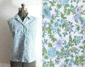 60s Blouse / 1960s 50s Sleeveless Blue and Green Floral Button Up Blouse