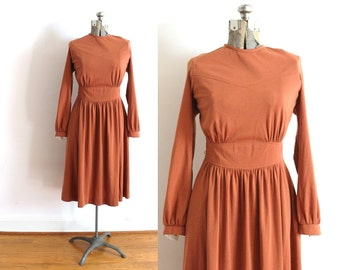 70s Dress / Clay Burnt Orange 1970s 1940s Style Dress