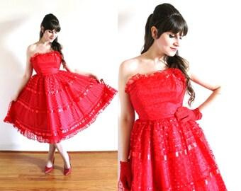 1950s Dress / 50s Dress / 1950s 60s Red Full Circle Skirt Polka Dot Tulle Party Dress