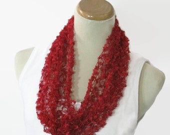 Lacy Scarf, Red Cowl, Knit Cowl, Circle Scarf, Loop Scarf, Hand Knit Scarf, Gift Idea For Her, Spring Scarf, Fashion Scarf, Women Scarf