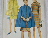 Size 12 Bust 32, Waist 25  Vintage Simplicity Sewing Pattern 7391 Dress with Stand up Collar and Cape Mad Men Style