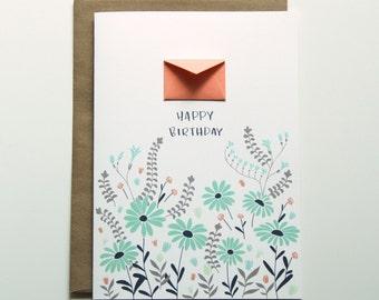 Happy Birthday Daisies  - Tiny Envelopes Card