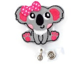 Katie the Koala - Retractable Badge Reel - Teacher Badge Holder - Animal Badge Reel - Nurse Badge Holder - Nursing Badge Clip - Felt Badge