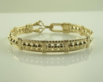 WSB-0179 Handmade 14k Gold Filled Beads Wire Wrapped Bangle Bracelet
