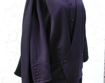 Navy Pants Suit Navy Jacket Cape Vintage Navy Suit Paris Philippe Forrestier Design Navy Jacket with Removable Scarf/Cape and Full Pants