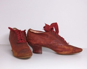 Baby Don't Step on My  RED SUEDE SHOES - Antique / Vintage High Heel Shoes - Flapper - Victorian