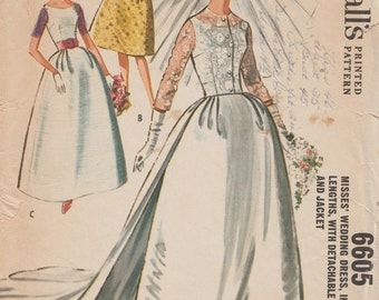 McCall's 6605 / Vintage 60s Sewing Pattern / Bridal Gown Wedding Dress / Size 18 Bust 38