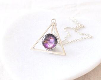 Purple Galaxy Necklace. Orion Nebula Necklace. Triangle Necklace. Space Necklace. Universe Necklace. Galaxy Jewelry.