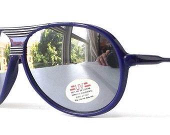 vintage 1980's NOS aviator sunglasses royal blue plastic frames mirror lenses sun glasses eyewear oversized mens womens retro purple eyewear