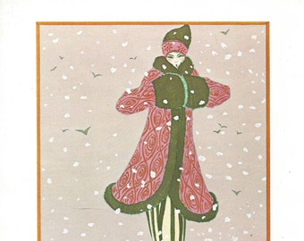vintage 70's french fashion plate woman fashion illustration print image wall art home decor gazette du bon ton art deco winter snow 18 20's