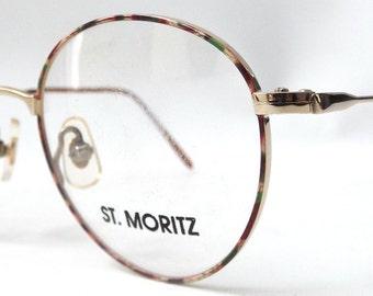 vintage 1980's NOS st moritz round eyeglasses gold metal red green brown frames prescription eyewear retro eye glasses modern accessory new