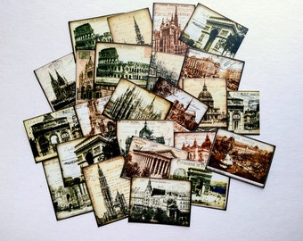 "25 European Architecture Stickers, 1.5"" x 2"" (38x51mm), Vintage Ephemera Stickers, Postcard stickers, Travel stickers, Recycled stickers"