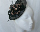Black and Latte Nude Upback Saucer Sinamay Loop Curl Feather & Pearl Fascinator Hat- Made to Order - Royal Ascot -Derby