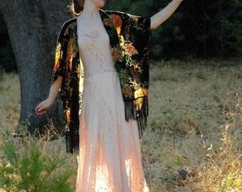 FREE SIZE... Velvet Burnout Jacket... Kimono Jacket... Transparent Flowers... Luscious Boho Couture