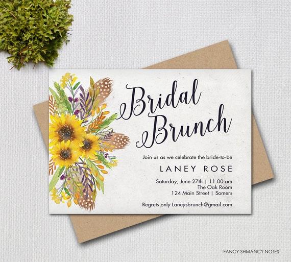 bridal brunch invitation sunflower floral script invitation
