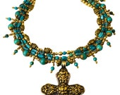Custom Order for Angels&Mermaids: Turquoise and Brass Multi-Strand Necklace with Tibetan Filigree Cross