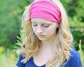 Women's Head Wrap Hot Pink Wide Headband Sweat Headbands Solid Headwrap Pink Soft Head Scarf Plain Head Wrap (#1402) S M L