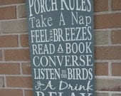 "Porch Rules Sign,Primitive wood Sign,Porch Decor,Home Decor,Typography Sign,GRAY,Rustic,Country Sign,DAWNSPAINTING, 12"" x 24"""