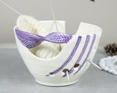White Ceramic Yarn Bowl Knitting bowl, off-white, Crochet Bowl Modern home and living purple twisted leaf, knitter gift Yarn supplies