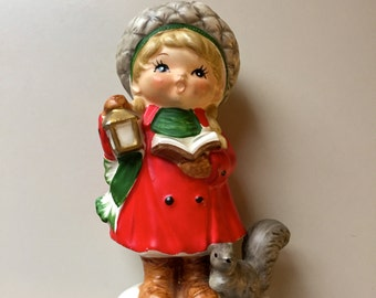 Vintage Christmas Figurine Girl with Squirrel