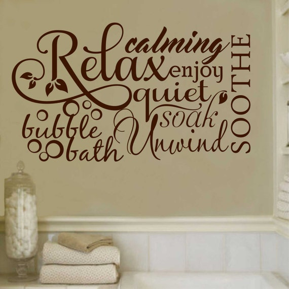 Bubble Bath Relax Word Collage Quote Vinyl Wall Lettering