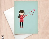 Blowing Kisses - Cute Valentine's Card, Girl Blowing Bubbles - Blank Card - Love Greeting Card