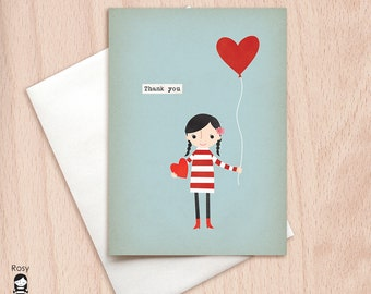 Love is in the Air - Girl with a Red Heart Ballooon - Thank You Greeting Card