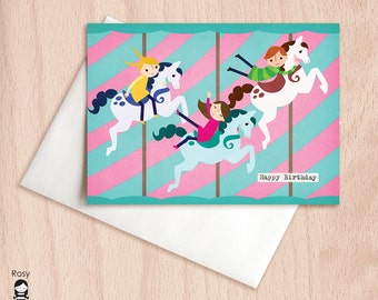 Merry Go Round - Carousel, Horses, Group Birthday - Birthday Greeting Card