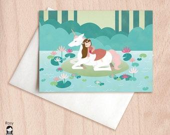 Unicorn Lake Sleeping Beauty - Blank Greeting Card
