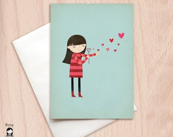 Blowing Kisses - Girl Blowing Bubbles - Blank Card - Love Greeting Card - Valentine Card