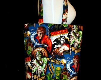 Horror Movie Monster Tote Bag - Dracula, Frankenstein, Mummy, Wolf-man
