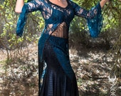 """SPECIALTY/Limited Edition: The """"Saloon Girl"""" Willow Set in Teal Blue Lace with Black Fringe by Opal Moon Designs (Size S, M, L)"""
