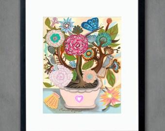 Serenity afternoon- 8x10 print. Folk flowers, art painting flowers, bohemian, folk, funky, naive, primitive.