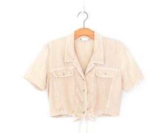 Cropped Blouse * Vintage 80s Shirt * Khaki Crop Top * Large