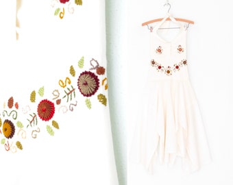 70s Gauze Dress * Vintage Floral Embroidered Dress * 1970s Halter Dress * Small