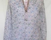 1970s Adini Blouse, India Cotton Gauze, Semi Sheer, Block Printed, Indian Imports, Small, Medium