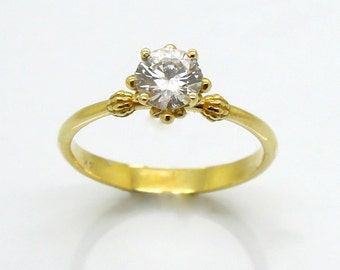 Vintage style engagement ring, Solitaire ring, unique design, 14K Yellow gold, man made diamond
