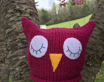 Pink Sleepy Owl Baby Hat